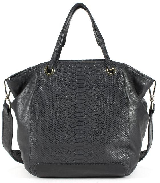 SEE BY CHLOÉ Black Embossed Leather Satchel Shoulder Bag