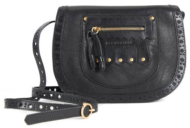 SEE BY CHLOÉ Black Perforated Leather Fringe Kilty Small Crossbody Bag