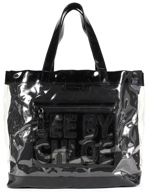 SEE BY CHLOÉ SEE BY CHLOÉ Black Clear PVC Large Tote Bag