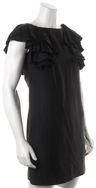 SEE BY CHLOÉ Black Ruffle Trim Above Knee V-Back Shift Dress