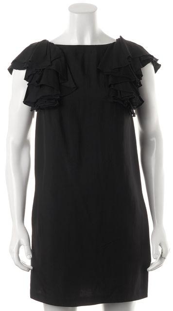SEE BY CHLOÉ Black Ruffle Trim Above Knee V-Back Shift Dress