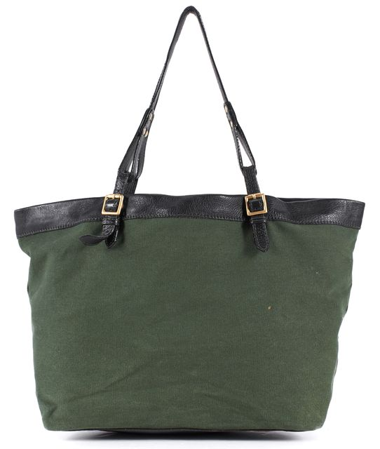 SEE BY CHLOÉ SEE BY CHLOÉ Olive Green Canvas Black Leather Trim Shoulder Tote Bag