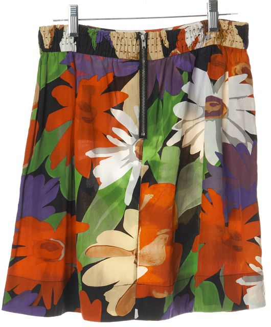 SEE BY CHLOÉ Black Red Yellow Floral Silk A-Line Skirt