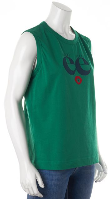 SEE BY CHLOÉ Emerald Green Graphic Print Tank Top
