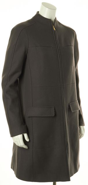 SEE BY CHLOÉ Gray Wool Gold Tone Zip Up Patch Pockets Winter Coat