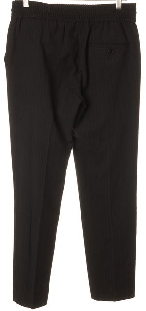 SEE BY CHLOÉ Black Pinstriped Wool Drawstring Waist Trousers Pants