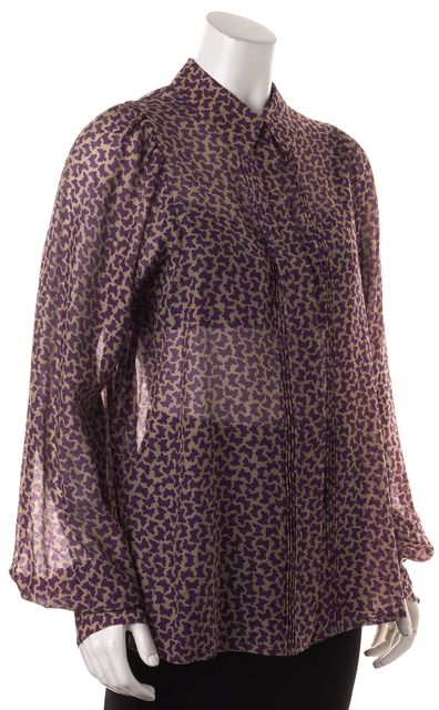SEE BY CHLOÉ Purple Butterfly Print Sheer Silk Wool Blouse Top