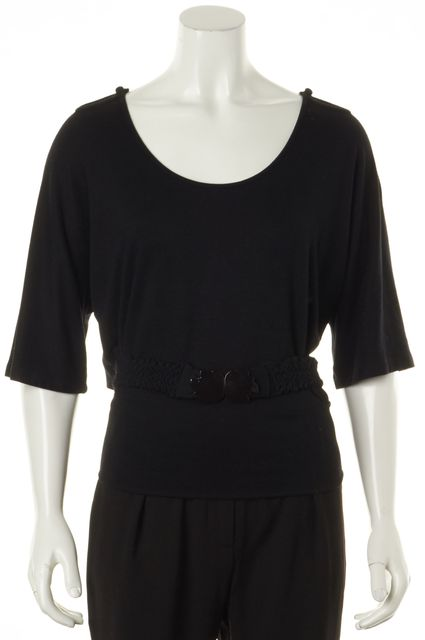 SEE BY CHLOÉ Black Cutout Shoulder Belted Knit Top
