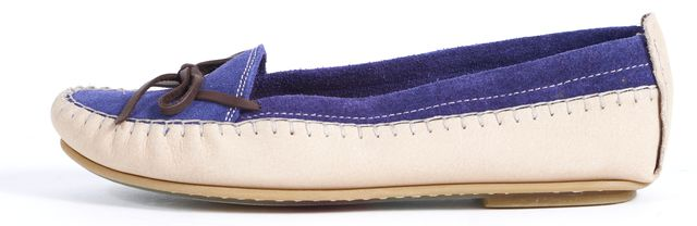 SEE BY CHLOÉ SEE BY CHLOÉ Beige Blue Suede Flat Boating Loafers