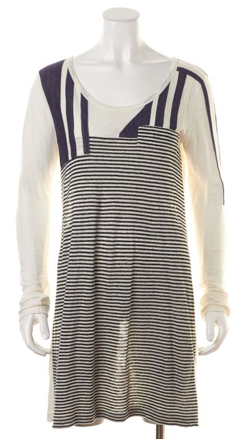 SEE BY CHLOÉ Ivory Navy Striped Cotton Linen Combo Shift Tee Dress
