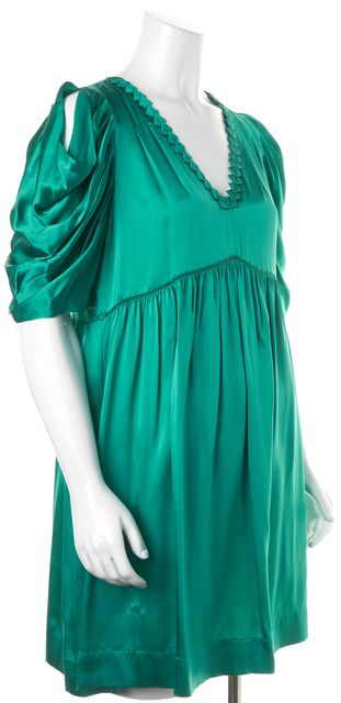 SEE BY CHLOÉ Green Silk Empire Waist Dress