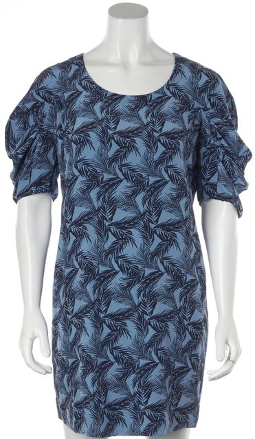 SEE BY CHLOÉ Blue Abstract Silk Above Knee Shift Dress