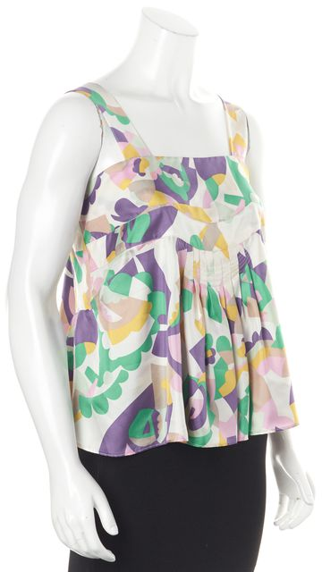 SEE BY CHLOÉ Pink Green Purple Abstract Floral Silk Blouse