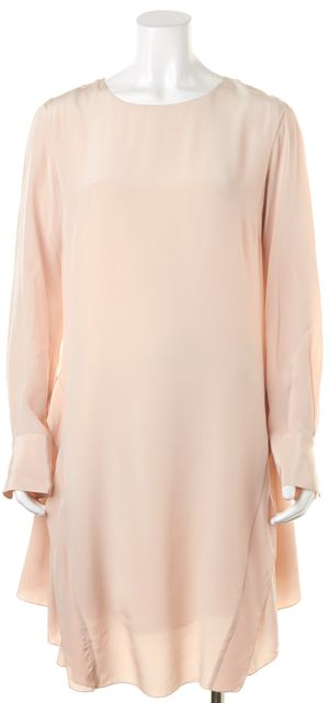 SEE BY CHLOÉ Pink 100% Silk Long Sleeve Knee-Length Shift Dress