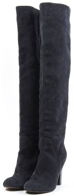 SEE BY CHLOÉ Black Studded Suede Heeled Knee-High Boots