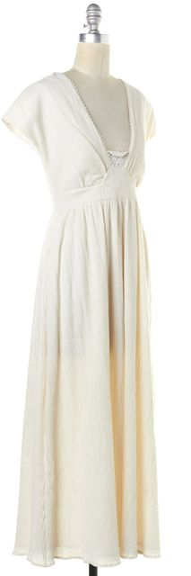 SEE BY CHLOÉ Ivory Textured Cotton Crochet Trim Open Back Maxi Dress