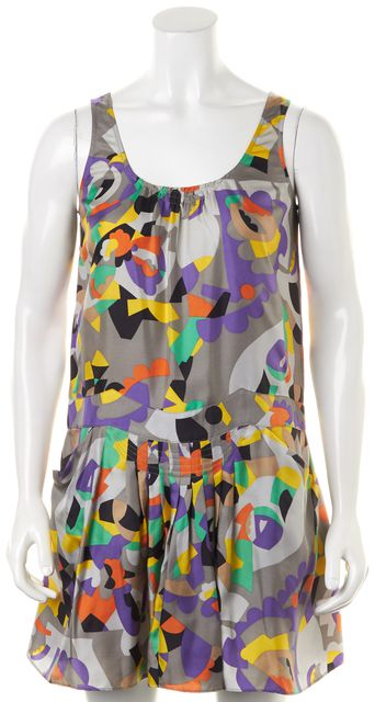 SEE BY CHLOÉ Gray Multi Abstract Print Silk Front Pockets Shift Dress