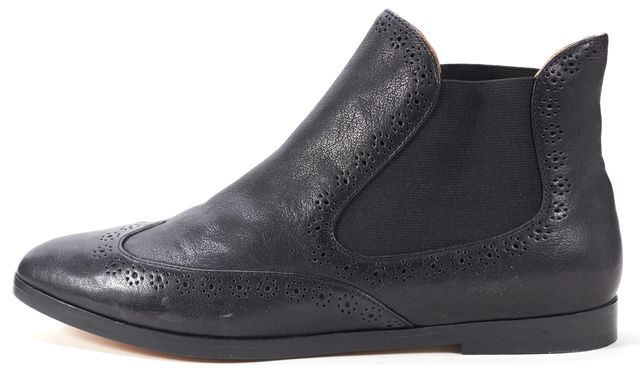 SEE BY CHLOÉ Black Embroidered Leather Flat Ankle Boots
