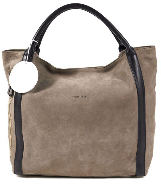 SEE BY CHLOÉ Minimal Gray Black Suede Leather Trim Porte Epaule Tote Bag