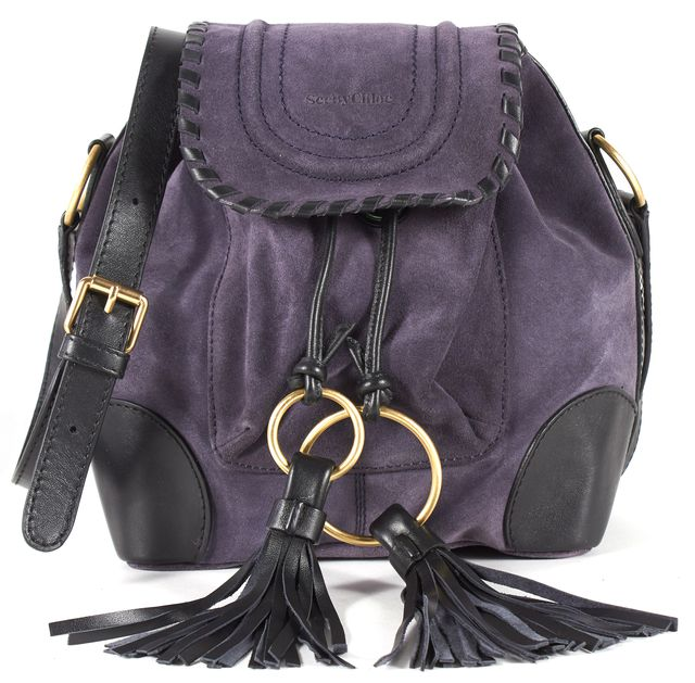 SEE BY CHLOÉ Midnight Blue Black Suede Leather Trim Polly Mini Bucket Bag