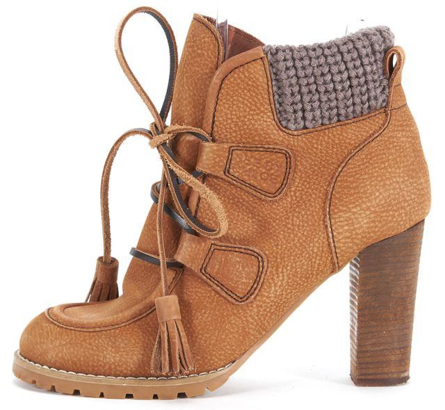 SEE BY CHLOÉ Beige Leather Lace Up Knit Trim Booties Heels