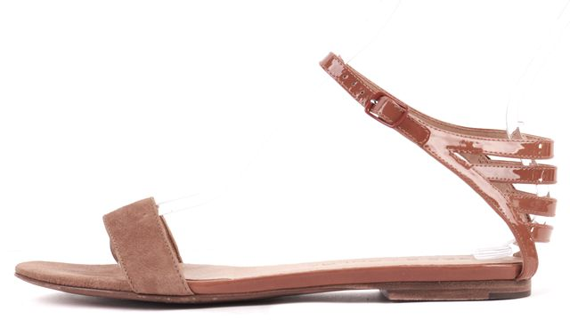 SEE BY CHLOÉ Tan Brown Suede Patent Leather Flat Sandals