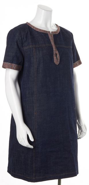 SEE BY CHLOÉ Blue Denim V-Neck Above Knee Shift Dress