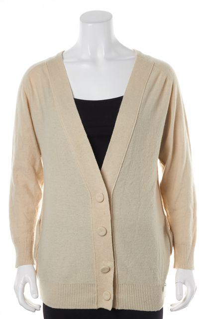 SEE BY CHLOÉ Light Beige Wool Cashmere Button Up Cardigan