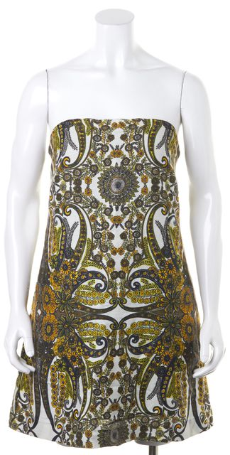 SEE BY CHLOÉ Yellow Ivory Paisley Floral Strapless Mini Sheath Dress