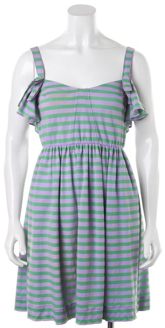 SEE BY CHLOÉ Purple Green Sleeveless Striped Fit Flare Dress
