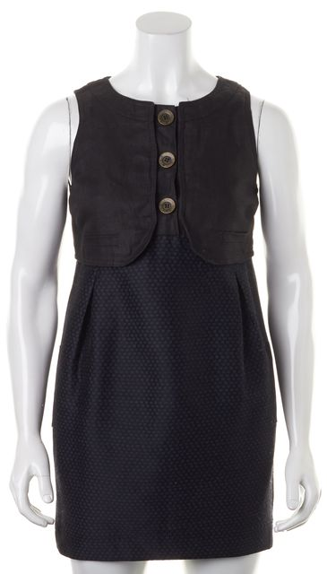 SEE BY CHLOÉ Black BluePolka Dot Linen Front Button Shift Dress