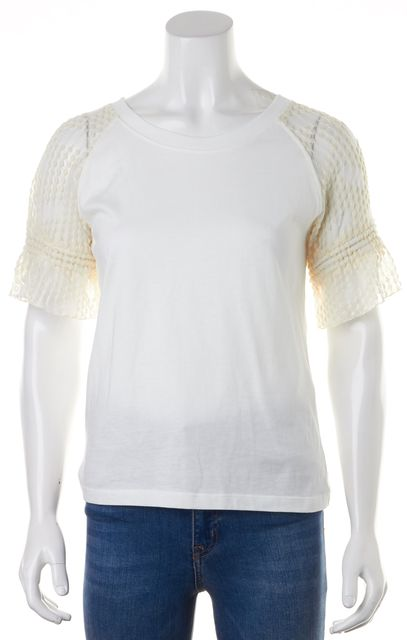 SEE BY CHLOÉ Off-White Lace Trim Ruffled Short Sleeve Blouse Top
