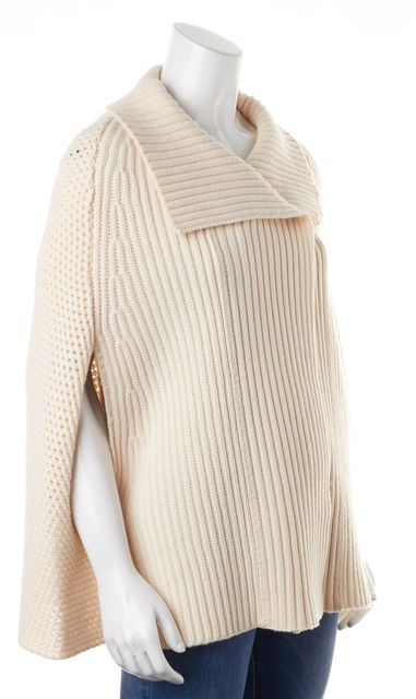 SEE BY CHLOÉ Ivory Wool Chunky Knit Poncho Jacket