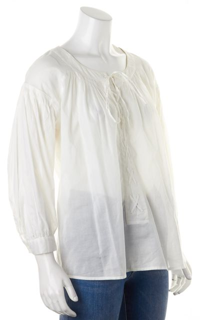SEE BY CHLOÉ White Cotton Sheer Lace Up Blouse Top