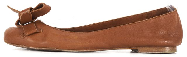 SEE BY CHLOÉ Cognac Leather Bow Embellished Ballet Flats