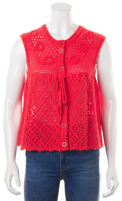 SEE BY CHLOÉ Red Wool Sleeveless Button Front Open Knit Top