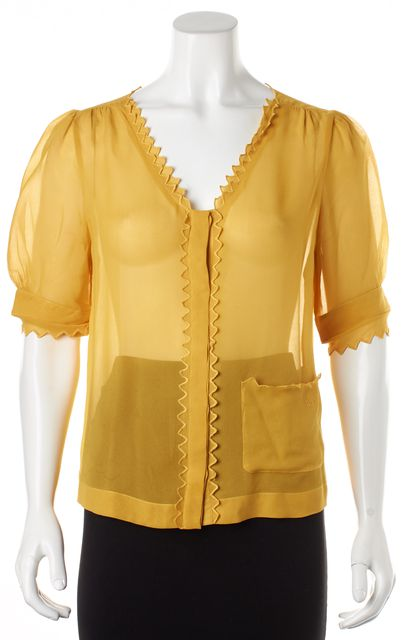 SEE BY CHLOÉ Mustard Yellow Sheer Silk Short Sleeves Blouse