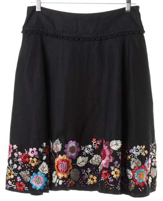 SEE BY CHLOÉ Black Floral Embroidered Linen A-Line Skirt