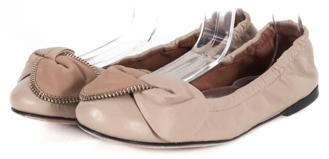 SEE BY CHLOÉ Beige Zipper Detail Leather Ballerina Flats