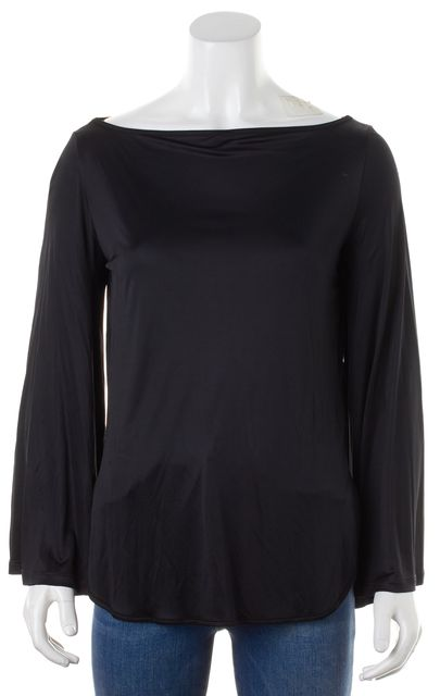 SEE BY CHLOÉ Black Jersey Long Bell Sleeve Boat Neck Blouse