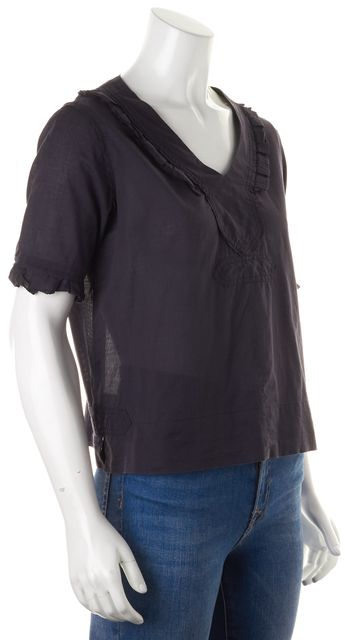 SEE BY CHLOÉ Navy Blue Cotton V-Neck Semi Sheer Blouse