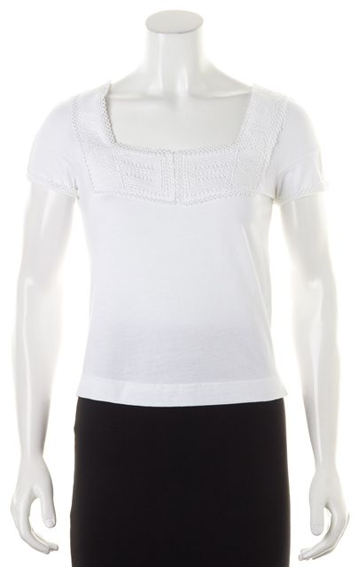 SEE BY CHLOÉ White Crochet Lace Trim Short Sleeve Basic T-Shirt