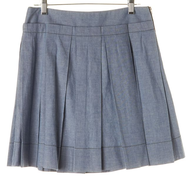 SEE BY CHLOÉ Light Blue Chambray Above Knee Pleated Skirt