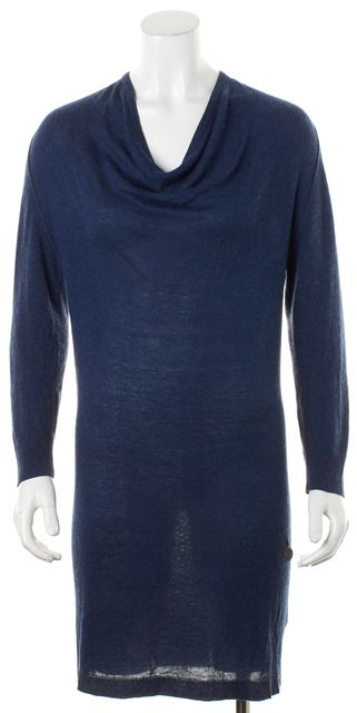 SEE BY CHLOÉ Blue Long Sleeve Cowl Neck Think Knit Sweater Dress