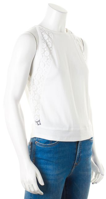 SEE BY CHLOÉ White Floral Crochet Cotton Jersey Tank Top