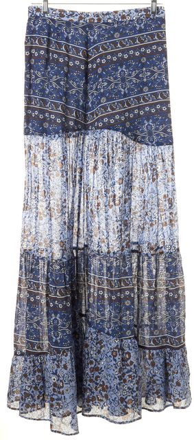 SEE BY CHLOÉ Blue Red Floral Cotton A-Line Maxi Skirt