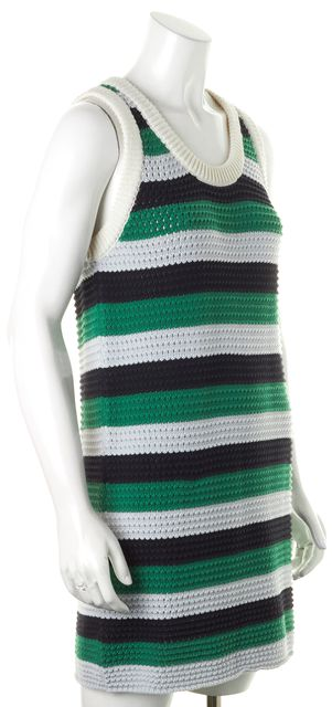 SEE BY CHLOÉ Green Blue Striped Sleeveless Knit Shift Dress