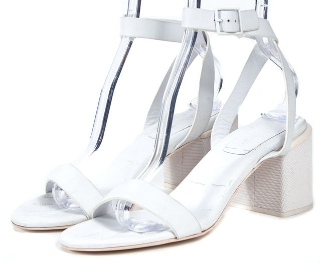 SEE BY CHLOÉ White Leather Block Heeled Platform Sandal Shoes