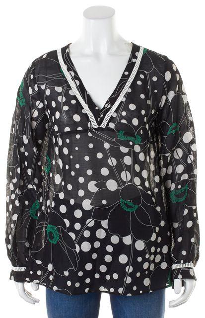 SEE BY CHLOÉ Black White Floral Polka Dot Blouse Top