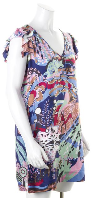 SEE BY CHLOÉ Blue Pink Floral Silk Cap Sleeve Shift Dress